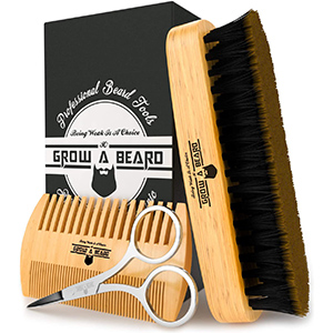 Beard Brush, Comb, Scissors Grooming Kit